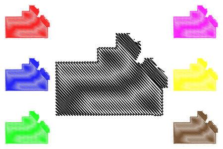 Oneida County, Idaho (US county, United States of America, USA, US, US) map vector illustration, scribble sketch Oneida map Illustration