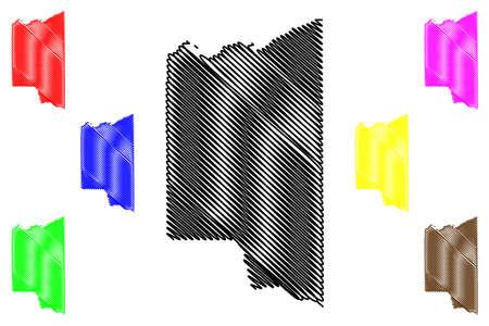 Teton County, Idaho (US county, United States of America, USA, US, US) map vector illustration, scribble sketch Teton map