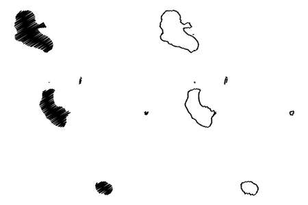 Tafea Province (Republic of Vanuatu, archipelago) map vector illustration, scribble sketch Tanna, Aniwa, Futuna, Erromango, Anatom island map