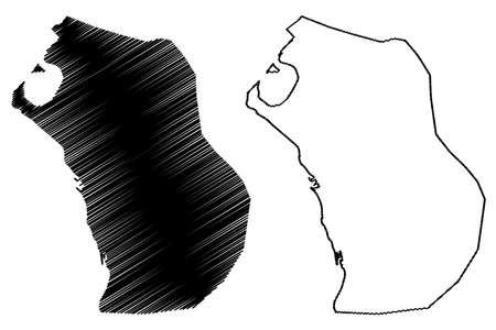 Al Hudaydah City (Republic of Yemen) map vector illustration, scribble sketch City of Hodeda, Hodeida, Hudaida or Hodeidah map