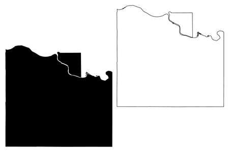 Douglas County, Kansas (US county, United States of America, USA, US, US) map vector illustration, scribble sketch Douglas map