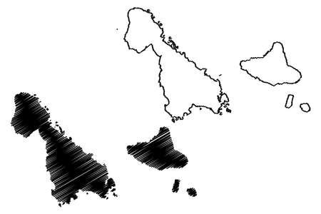Malampa Province (Republic of Vanuatu, archipelago) map vector illustration, scribble sketch Ambrym, Malakula, Paama island map