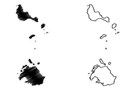 Shefa Province (Republic of Vanuatu, archipelago) map vector illustration, scribble sketch Efate, Shepherd Islands, Epi island map Illustration