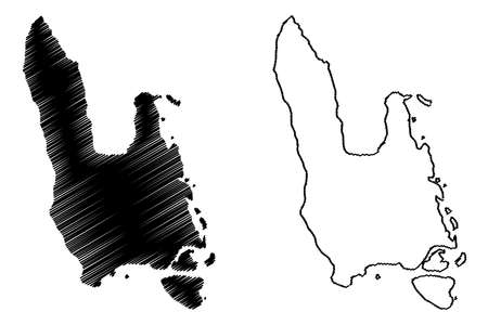 Sanma Province (Republic of Vanuatu, archipelago) map vector illustration, scribble sketch Espiritu Santo, Malo island map Illustration