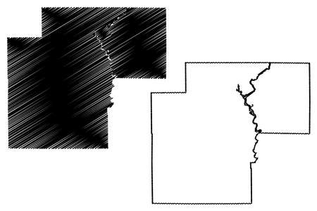 White County, Indiana (US county, United States of America, USA, US, US) map vector illustration, scribble sketch White map  イラスト・ベクター素材
