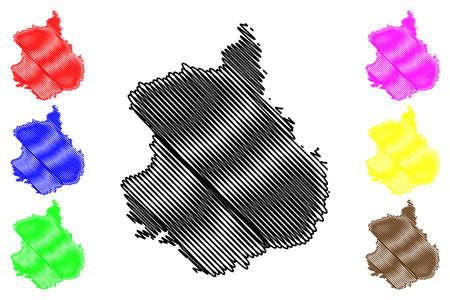 Eure-et-Loir Department (France, French Republic, Center-Val de Loire region) map vector illustration, scribble sketch Eure et Loir map