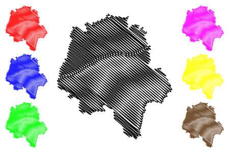 Indre-et-Loire Department (France, French Republic, Center-Val de Loire region) map vector illustration, scribble sketch Indre et Loire map
