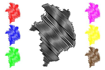 Cher Department (France, French Republic, Center-Val de Loire region) map vector illustration, scribble sketch Cher map