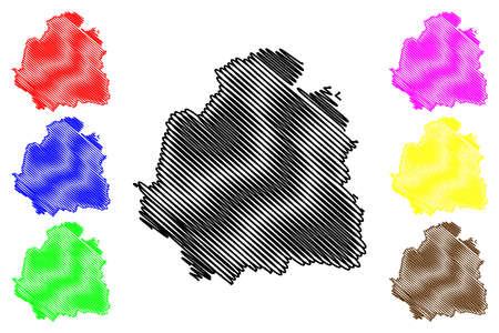 Indre Department (France, French Republic, Center-Val de Loire region) map vector illustration, scribble sketch Indre map
