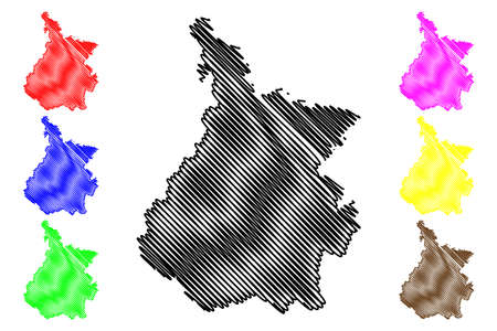 Hautes-Pyrenees Department (France, French Republic, Occitanie or Occitania region) map vector illustration, scribble sketch Hautes Pyrenees map Illustration