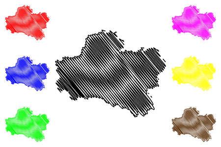 Loiret Department (France, French Republic, Center-Val de Loire region) map vector illustration, scribble sketch Loiret map Illustration
