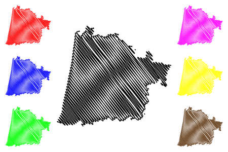 Landes Department (France, French Republic, Nouvelle-Aquitaine region) map vector illustration, scribble sketch Lanas map Ilustração