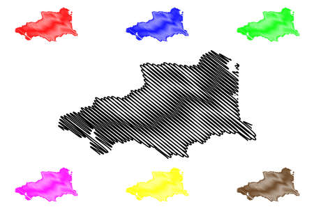 Pyrenees-Orientales Department (France, French Republic, Occitanie or Occitania region) map vector illustration, scribble sketch Pyrenees Orientales map Ilustração