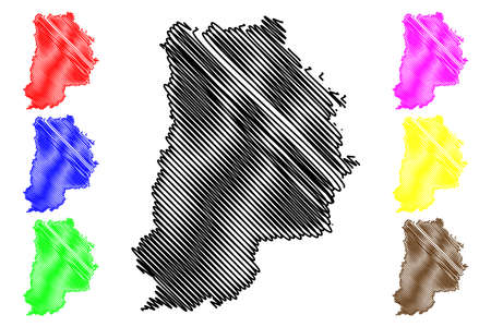 Seine-et-Marne Department (France, French Republic, Ile-de-France region) map vector illustration, scribble sketch Seine et Marne map Ilustração