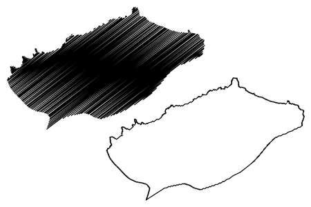 Ribeira Grande municipality (Republic of Cape Verde, concelhos, Cape Verde, Santo Antao island, archipelago) map vector illustration, scribble sketch Ribeira Grande map