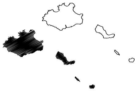 Sao Vicente municipality (Republic of Cabo Verde, concelhos, Cape Verde, island, archipelago) map vector illustration, scribble sketch Sao Vicente, Santa Luzia, Ilheu Raso and Branco map