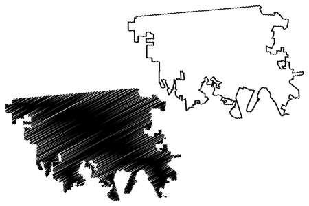 Mexicali City (United Mexican States, Mexico, Baja California State) map vector illustration, scribble sketch City of Mexicali map Ilustración de vector