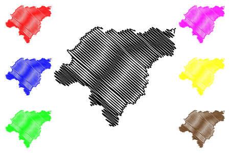 Harbin City (People's Republic of China, Heilongjiang Province) map vector illustration, scribble sketch City of Harbin map