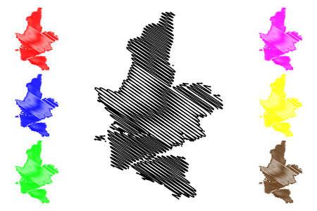 Kumamoto City (State of Japan, island country, Kyushu Region) map vector illustration, scribble sketch City of Kumamoto map