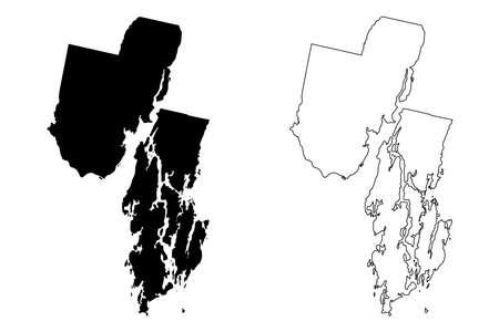 Sagadahoc County, Maine (US county, United States of America, USA, US, US) map vector illustration, scribble sketch Sagadahoc map Illusztráció