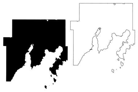 Delta County, Michigan (US county, United States of America, USA, US, US) map vector illustration, scribble sketch Delta map