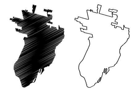 Santa Fe City (Argentine Republic, Santa Fe Province) map vector illustration, scribble sketch City of Santa Fe de la Vera Cruz map