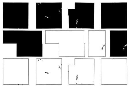 Oscoda, Osceola, Newaygo, Montcalm, Otsego and Ogemaw County, Michigan (US county, United States of America, USA, US, US) map vector illustration, scribble sketch map