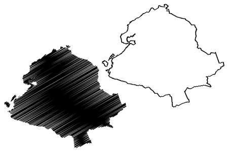 Sao Goncalo City (Federative Republic of Brazil, Rio de Janeiro State) map vector illustration, scribble sketch City of Sao Goncalo map
