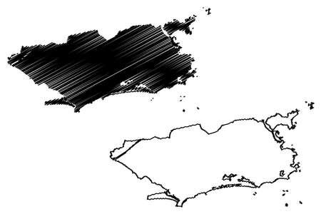 Rio de Janeiro City (Federative Republic of Brazil, Rio de Janeiro State) map vector illustration, scribble sketch City of Rio map