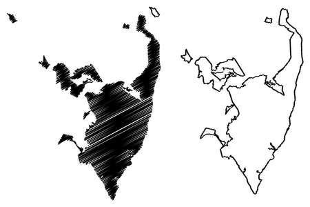 Serra City (Federative Republic of Brazil, Espirito Santo State) map vector illustration, scribble sketch City of Serra map