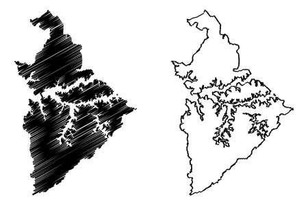 Sao Bernardo do Campo City (Federative Republic of Brazil, Sao Paulo State) map vector illustration, scribble sketch City of Sao Bernardo do Campo map Иллюстрация