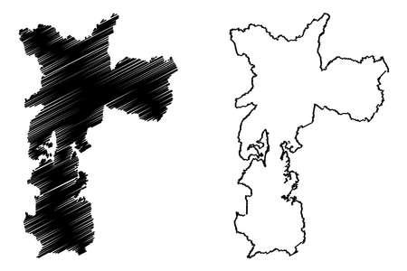 Sao Paulo City (Federative Republic of Brazil, Sao Paulo State) map vector illustration, scribble sketch City of Sao Paulo map Иллюстрация