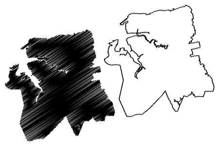 Sao Luis City (Federative Republic of Brazil, Maranhao State) map vector illustration, scribble sketch City of Sao Luis map