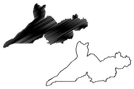 Rio Branco City and Municipality (Federative Republic of Brazil, Acre State) map vector illustration, scribble sketch City of Rio Branco map