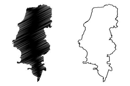Porto Alegre City (Federative Republic of Brazil, Rio Grande do Sul State) map vector illustration, scribble sketch City of Porto Alegre map