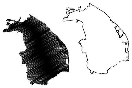 Barranquilla City (Republic of Colombia, Atlantico Department) map vector illustration, scribble sketch City of Barranquilla map