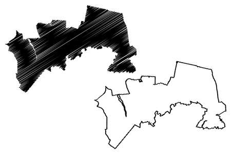 Soacha City (Republic of Colombia, Department of Cundinamarca) map vector illustration, scribble sketch City of Soacha map Иллюстрация