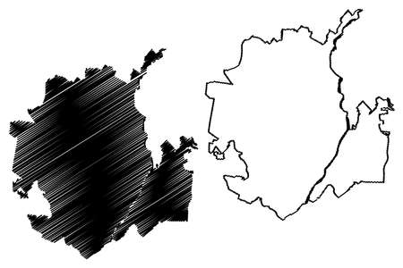 Cucuta City (Republic of Colombia, Department of Norte de Santander) map vector illustration, scribble sketch City of San Jose de Cucuta map