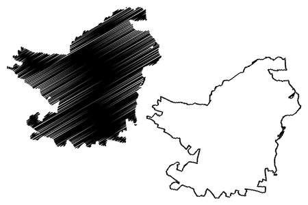 Soledad City (Republic of Colombia, Department of Atlantico) map vector illustration, scribble sketch City of Soledad map