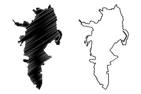 Cali City (Republic of Colombia, Valle del Cauca Department) map vector illustration, scribble sketch City of Santiago de Cali map