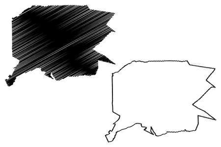 Uberlandia City (Federative Republic of Brazil, Minas Gerais State) map vector illustration, scribble sketch City of Uberlandia map