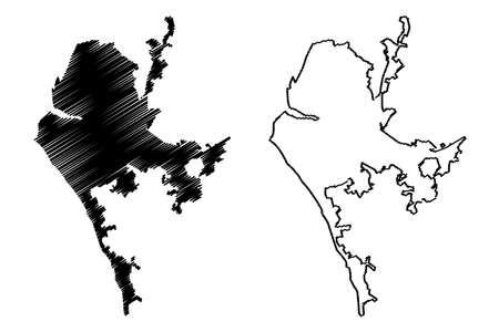 Concepcion City (Republic of Chile, Bio Bio Region) map vector illustration, scribble sketch City of La Concepcion de Maria Purísimadel Nuevo Extremo map