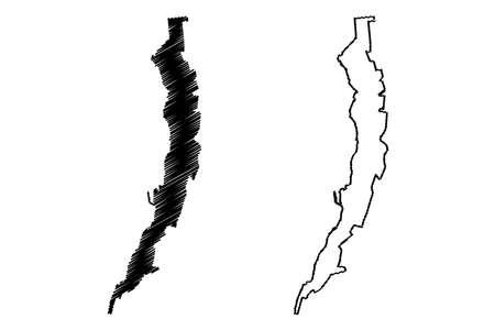 Antofagasta City (Republic of Chile, Antofagasta Region) map vector illustration, scribble sketch City of Antofagasta map