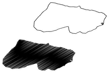Caracas City (Bolivarian Republic of Venezuela, Capital District State) map vector illustration, scribble sketch City of Santiago de Leon de Caracas map Иллюстрация