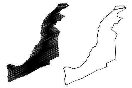 Huancayo City (Republic of Peru, Department of Junin) map vector illustration, scribble sketch City of Huancayo map
