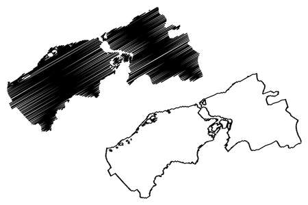 Ciudad Guayana City (Bolivarian Republic of Venezuela, Bolivar State) map vector illustration, scribble sketch City of San Felix and Puerto Ordaz map