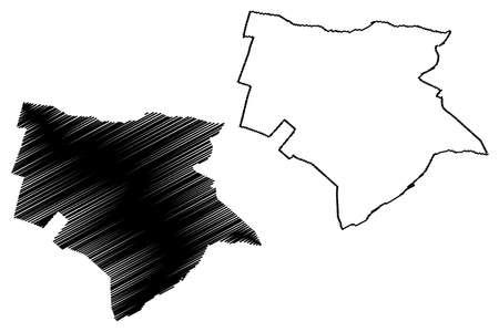 Trujillo City (Republic of Peru, Department of La Libertad) map vector illustration, scribble sketch City of Trujillo map