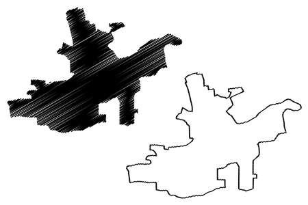 Maturin City (Bolivarian Republic of Venezuela, Monagas State) map vector illustration, scribble sketch City of Maturin map Иллюстрация