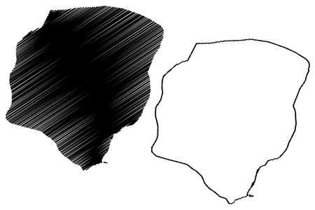 Piura City (Republic of Peru, Department of Piura) map vector illustration, scribble sketch City of Piura map