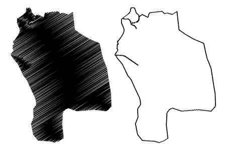 Barcelona City (Bolivarian Republic of Venezuela, Anzoategui State) map vector illustration, scribble sketch City of Barcelona map